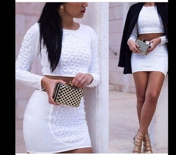 tank top white top skirt bag jewels