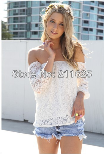 Free shipping 2013 lace hollow yarn women blouse blusas de renda femininas three quarter chiffon blouse-in Blouses & Shirts from Apparel & Accessories on Aliexpress.com