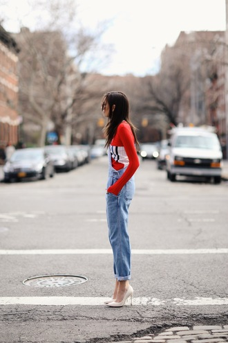 we wore what blogger top denim overalls red