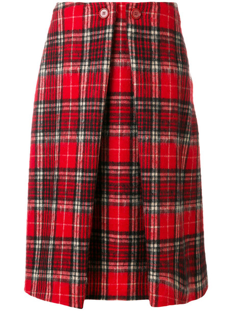 ASPESI skirt midi skirt women midi mohair wool tartan red