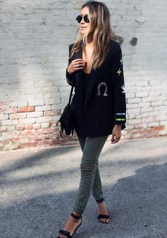 sincerely jules blogger jacket jeans shoes bag