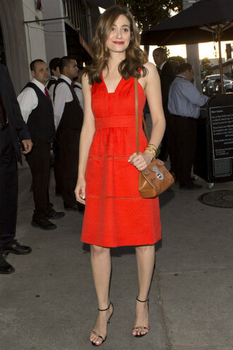 dress red dress emmy rossum midi dress sandals