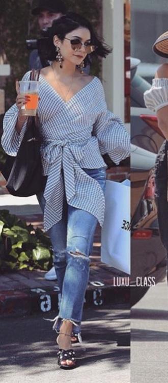 blouse stripes checkers vanessa hudgens bow girly