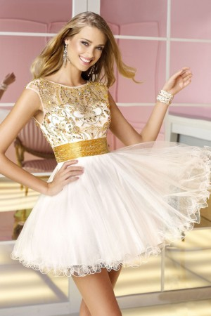 Buy ivory sleeveless scoop neckline a line homecoming dresses with golden sash from eveningirl