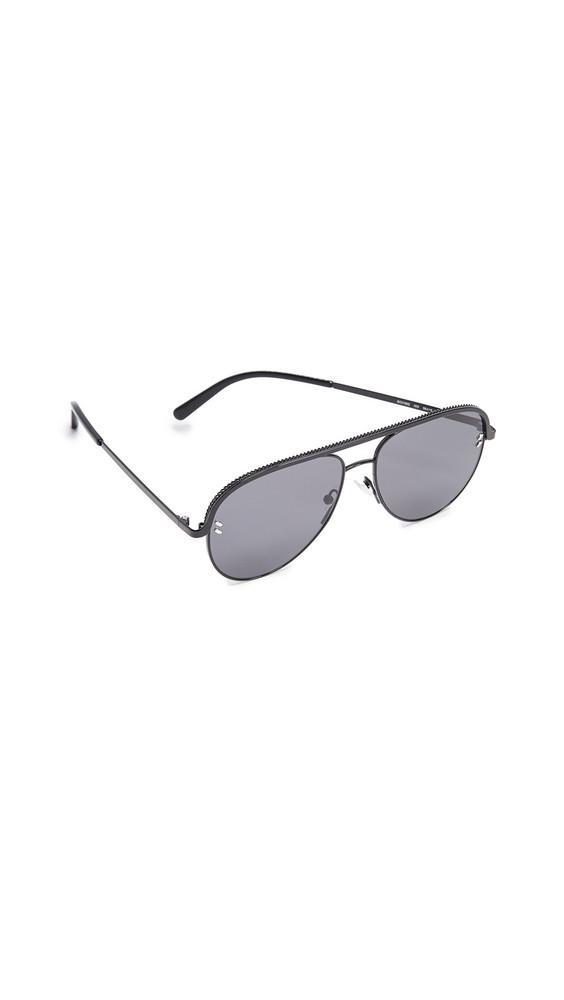 Stella McCartney Double Bridge Pilot Sunglasses in black