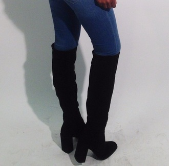 shoes high heels boots over-the-knee over-the-knee boots black boots black over-the-knee boots bulky heel