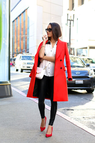 hapa time blogger bag sunglasses red dress stilettos coat shirt