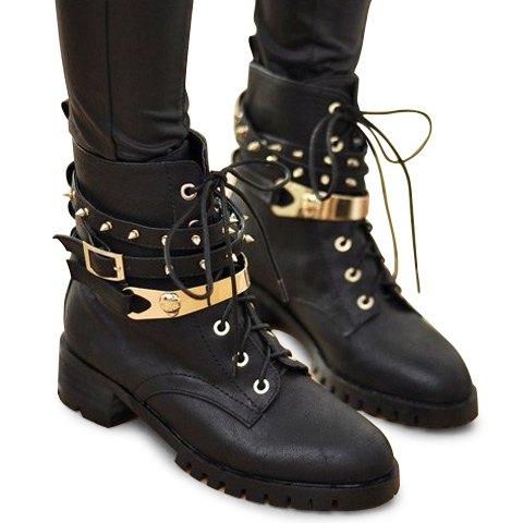Bottes pour femmes de style moderne talon plat couleur pure rivet noir à lacets
