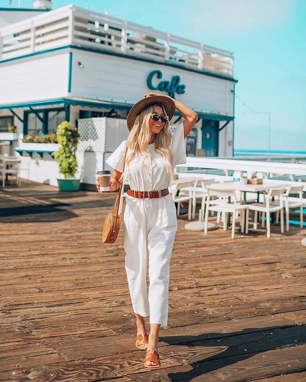 jumpsuit white jumpsuit belt bag shoes sunglasses