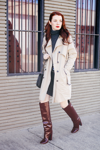 sea of shoes blogger brown leather boots trench coat
