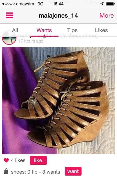 shoes brown tan wedges wedges heels lace