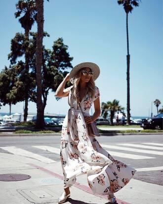 dress hat tumblr maxi dress floral maxi dress floral floral dress white dress shoes mules metallic sunglasses sun hat
