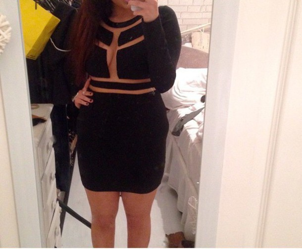dress black dress missguided mesh dress