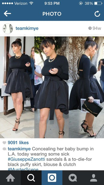 kim kardashian black skirt