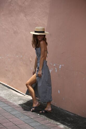 shoes posse hat sandals flat sandals dress maxi dress open back open back dresses backless backless dress sun hat gingham slit dress