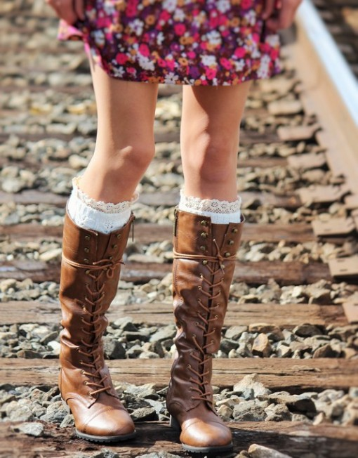 'Jessie' Caramel Brown Military Knee High Lace Up Boot | Luxelizzies | SIMPLE. FUN. AFFORDABLE. FASHION.