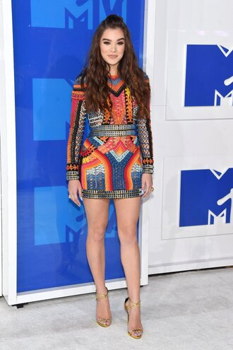 dress hailee steinfeld mini dress long sleeve dress bodycon dress vma mtv colorful shoes balmain giuseppe zanotti celebrity style celebrity multicolor guiseppe zanotti sandals sandal heels high heel sandals gold sandals party dress ankle strap heels the blonde salad blogger