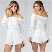 romper,crochet,lace,white,fashion,boho,chic,long sleeves,off the shoulder,crochet romper,love,get this look,angl,vintage,cute,new arrival