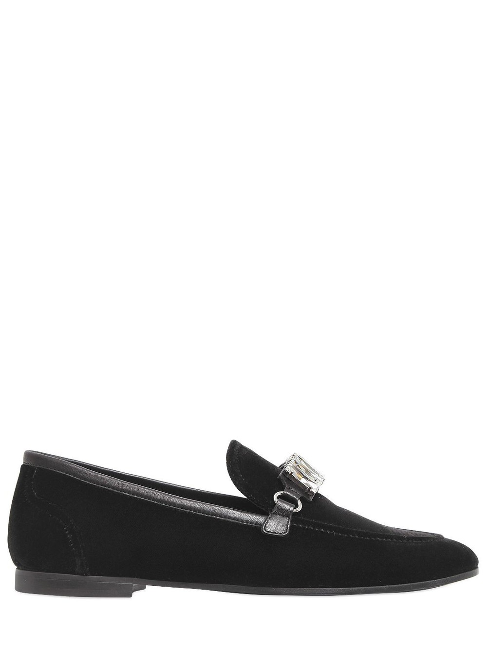GIUSEPPE ZANOTTI DESIGN 10mm Velvet & Swarovski Loafers in black