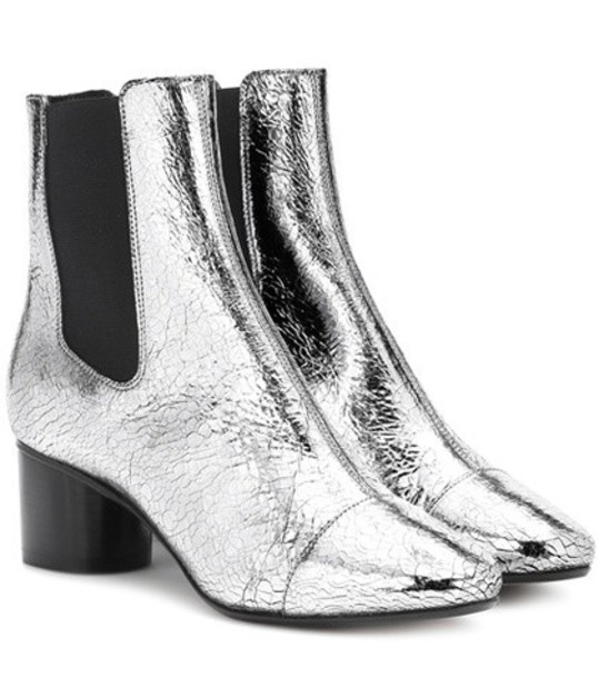Isabel Marant leather ankle boots metallic ankle boots leather silver shoes