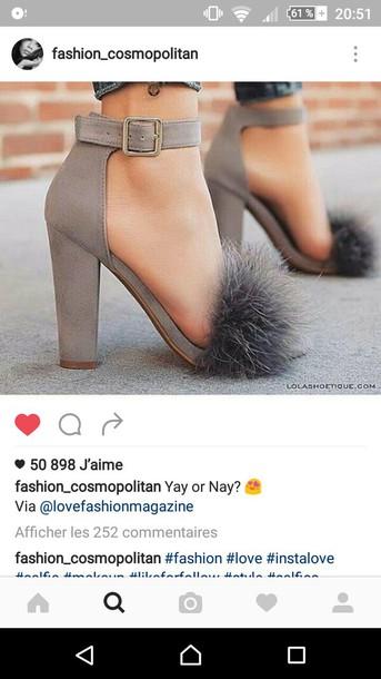 fd273120fdb shoes fluffy block heels grey