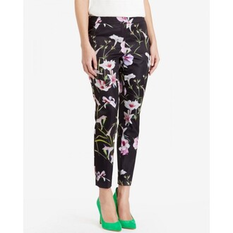 pants printed pants floral pattern black style streetstyle streetwear casual classy girly cute womens leggings