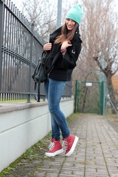 style and trouble,bag,jeans,shoes,hat,coat,sweater,jewels