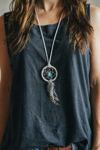 jewels necklace long neckace dreamcatcher dreamcatcher necklace boho jewelry