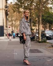 bag,shoulder bag,jumpsuit,animal print,sandals,high heel sandals,earrings