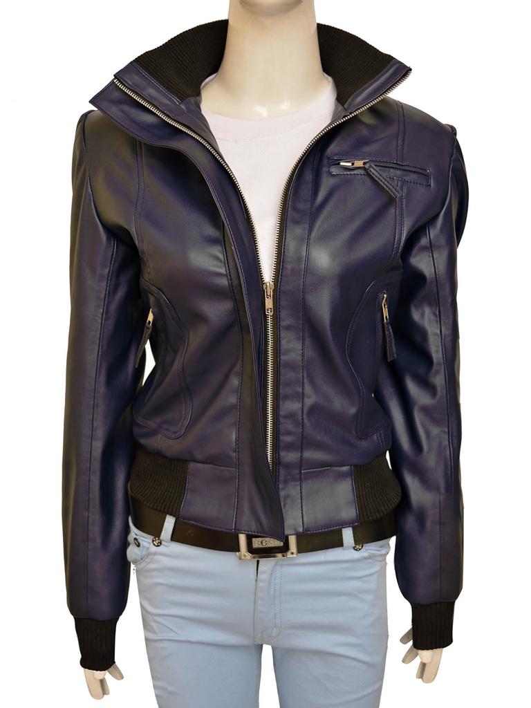Dark Purple Brando Leather Jacket For Her | Women Jacket | MauveTree