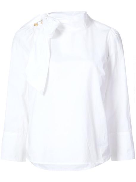 Ulla Johnson - side bow-tie shirt - women - Cotton - 8, White, Cotton