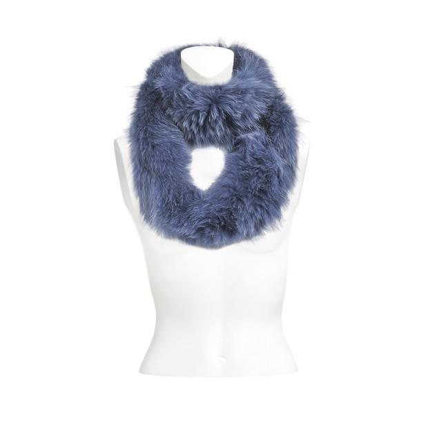 Yves Salomon knitted scarf fox in blue