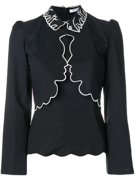 Vivetta - contrast trim face detail shirt - women - Cotton/Spandex/Elastane - 38, Black, Cotton/Spandex/Elastane