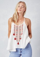 top,embroidered top,tassel top,embroidered,racerback top,sleeveless top,racerback tank,scoop neck top,embellished top,flowy tank,boho top,boho,boho chic,bohemian,summer,summer top,beach,beach top