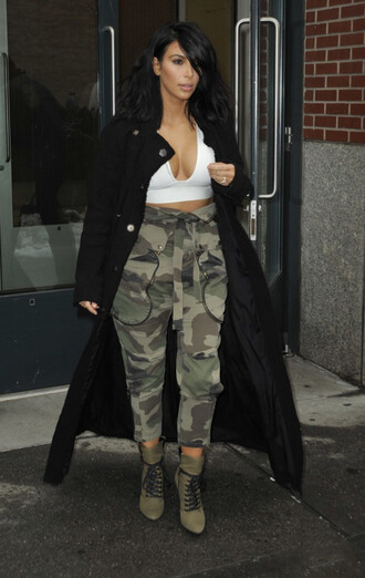 top pants camo pants kim kardashian boots coat shoes