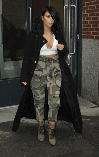 top pants camo pants kim kardashian boots coat shoes