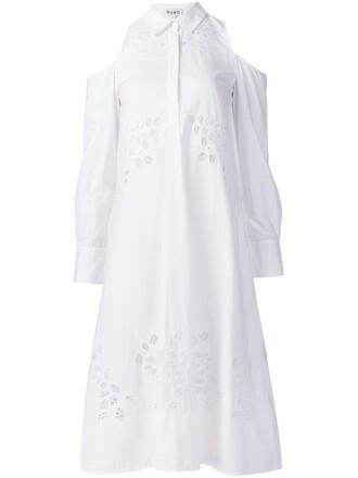 dress women cut out shoulder white cotton