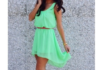 dress summer dress green dress waist belt high low dress mini dress beautiful nice green mint high low belted belted dress bright green sleeveless fitted waist sheer shirt pants