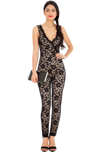 dress lace jump suit v neck sleeveless evening outfits sassy
