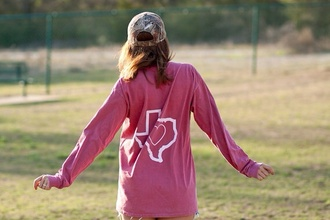 t-shirt texas long sleeve t-shirt red long sleeves pink
