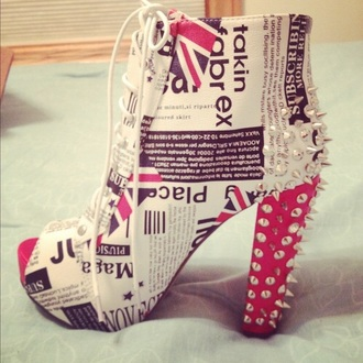 shoes style high heels british flag shoes studs newspaper