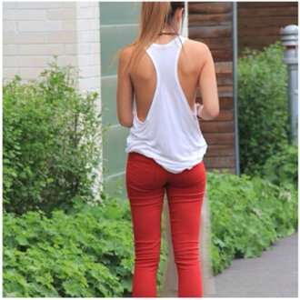 shirt t-shirt sexy tank top white shirt racerback backless