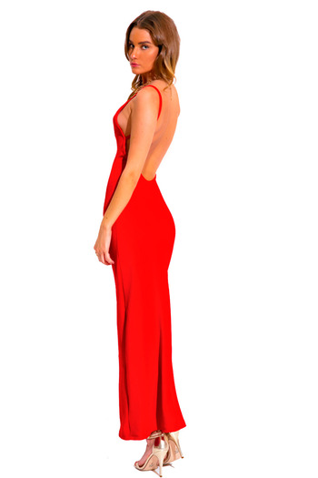 Cherry lipstick red v neck textured backless spaghetti strap fitted formal evening cocktail party maxi dress