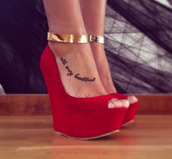 shoes,wedges,gold,metal,open toes,heels,red,high heels,peep toe,red shoes,red wedges,ankle jewelry,wedges with strap,ankle strap,ankle cuffs,wedge heel,suede shoes,gold detail