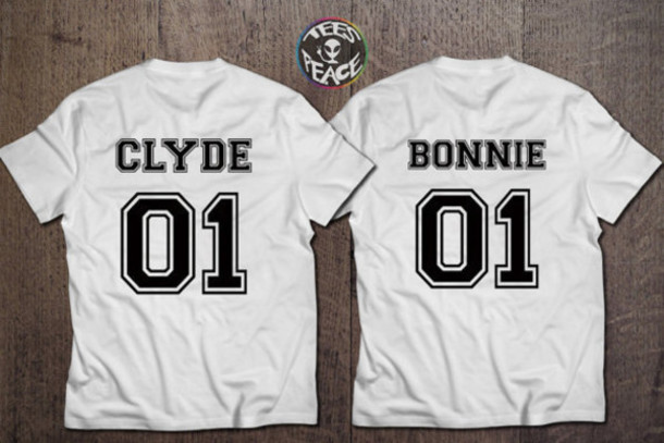 shirt bonnie and clyde white t-shirt matching set couples shirts beyonce Jay Z mothers day gift idea gifts for him birthday gifts for her anniversary present engagement present