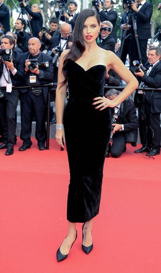dress midi dress adriana lima black dress strapless bustier dress cannes prom dress