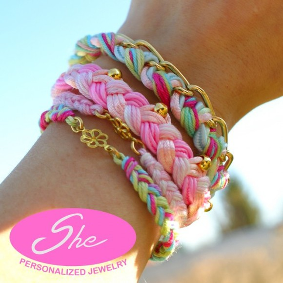 braid bracelets jewels friendship best friends pink pastel boho style boho sring cord bracelet chain gold flowers flower