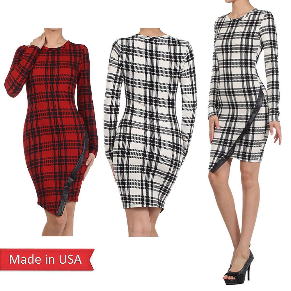 Check Plaid Print Asymmetric Wrapped Mini Holiday Dress w/ Faux Leather Trim USA