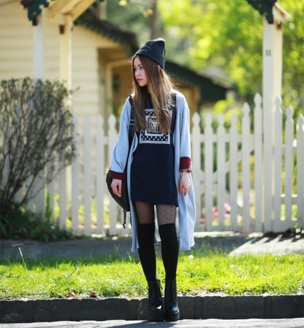 chloe ting blogger cardigan t-shirt bag hat dress shoes