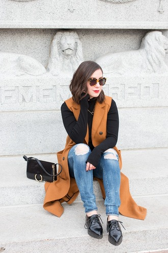 adventures in fashion blogger rust sleeveless coat pointed toe ripped jeans jacket zara chloe faye bag blue jeans long vest shoes black shoes sunglasses tortoise shell tortoise shell sunglasses black bag fall outfits